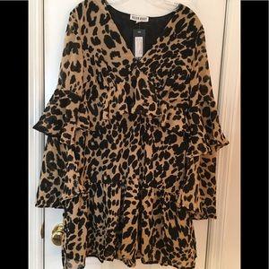 NEW! Nasty Gal Leopard Ruffle Babydoll Dress M